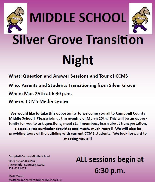 best cheap c7f90 3e8a3 Campbell County Middle School - Silver Grove Transition Night Posted On   Wednesday, March 13, 2019