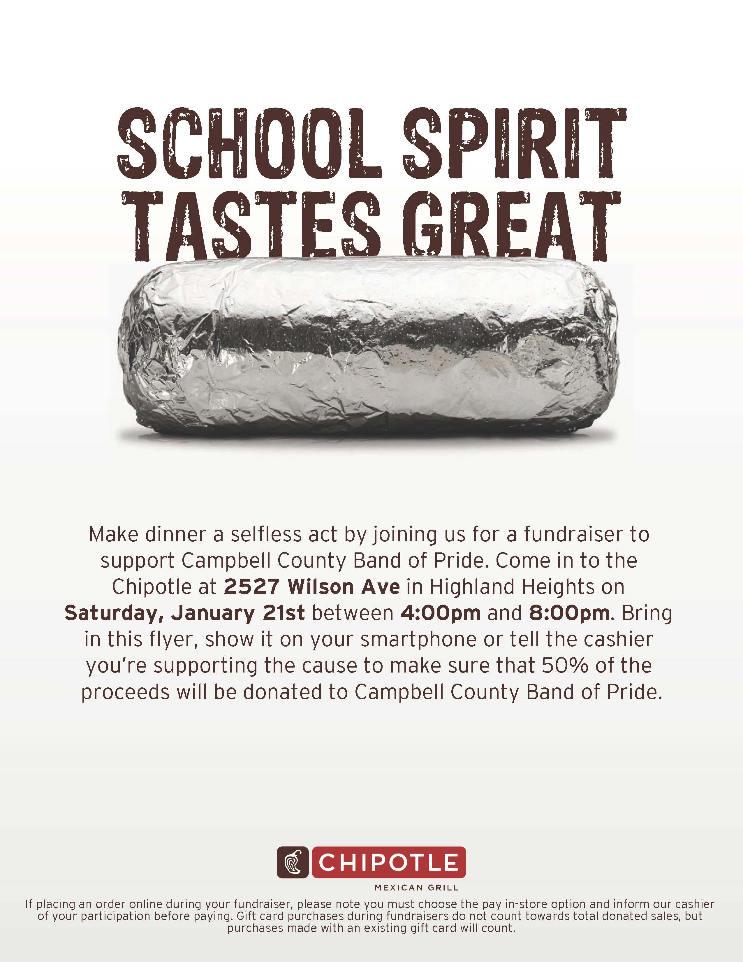 CHIPOTLE FUNDRAISER FOR CCHS BAND
