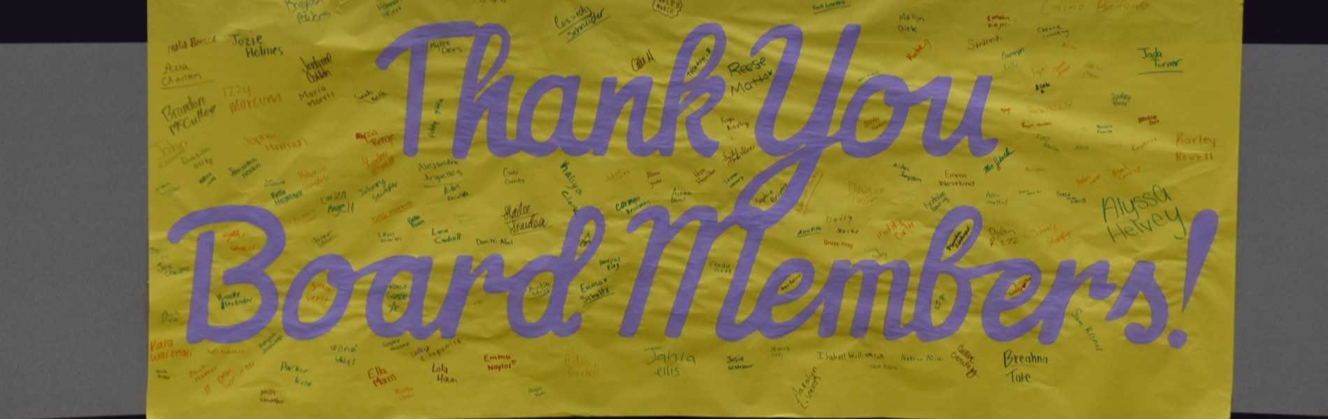 Thank you Board Members sign.