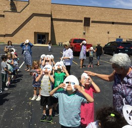 Cline Elementary Students viewing the Eclipse