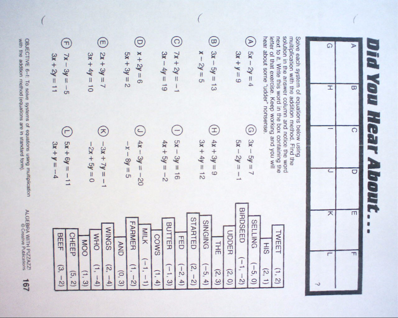 Campbell County Schools – Algebra with Pizzazz Worksheets